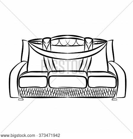 The Icon Of The Outline Of The Sofa. Linear Style Sign For Mobile Concept And Web Design. Comfortabl