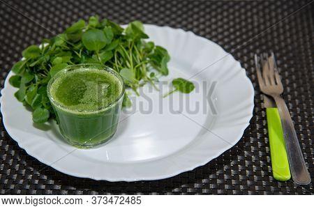 Watercress Juice And Salad (nasturtium Officinale). Detox Drink And Salad. Antioxidant Greenery. Nat