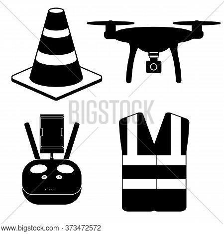 Drone Pilot Kit And Safety Equipment Silhouette Icons Vector Drone, Controller, Cone, Hi Vis