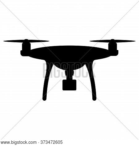 Drone Quadcopter Silhouette Icon Logo With Camera