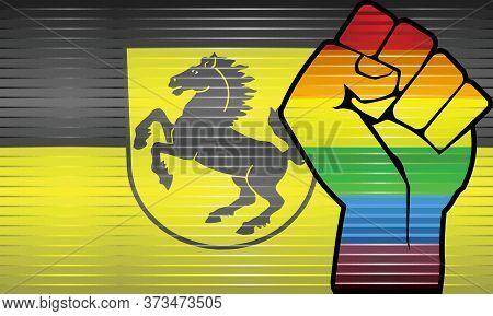 Shiny Lgbt Protest Fist On A Stuttgart Flag - Illustration,  Abstract Grunge Stuttgart Flag And Lgbt