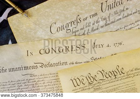 Declaration Of Independence U.s. Document Of American Constitution We The People With Usa Flag.
