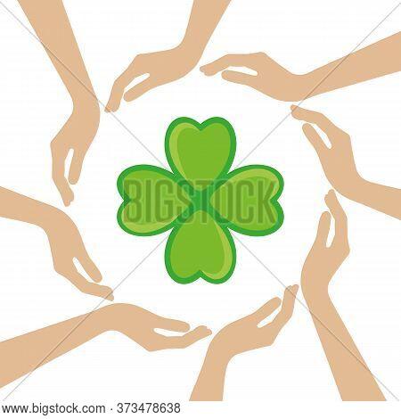 Clover Leaf Symbol In The Middle Of Human Hands Vector Illustration Eps10