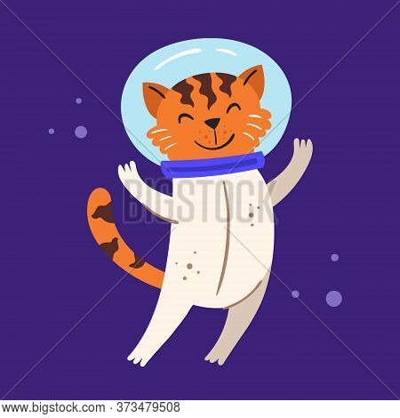 Cosmos Vector Flat Illustration, Element, Sticker, Icon. Isolated On Dark Background. Animal In Oute