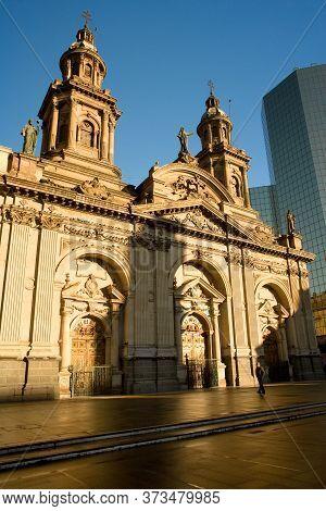 Downtown, Santiago, Chile, South America - June 28, 2009: Metropolitan Cathedral At Plaza De Armas I
