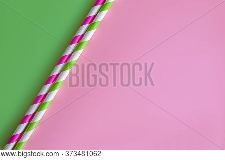 Drinking Paper Straws On Bright Background, Copy Space. Top View Of Colored Paper Disposable Eco-fri