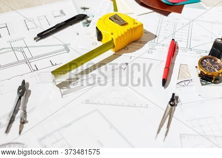 Architect Design Working Drawing Sketch Plans Blueprints And Making Architectural Construction Model