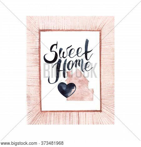 Watercolor Illustration In Pink Frame Of Pink House With Chimney And Black Heart In The Middle. Hand