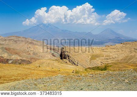 Greater Ararat And Little Ararat. Rocky Gullies And Mountain Blocks. Panoramic View Of Mount Ararat