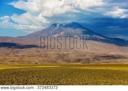 The Foot Of Mount Ararat. Panoramic View Of Mount Ararat From Turkey, Eastern Anatolia. Beautiful La
