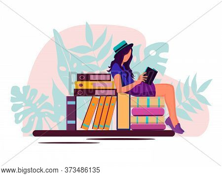 Young Girls Holding  And Laptop Isolated Characters On White Background, Girl Reading, Sitting On St