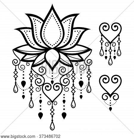 Lotus Flower Yoga Vector Design, Mehndi Indian Henna Tattoo Style Pattern, Boho Lotus Art With Chain