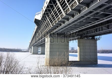 Omsk, Russia - January 31, 2017: Bridge Over The Irtysh River Named After The 60th Anniversary Of Vi