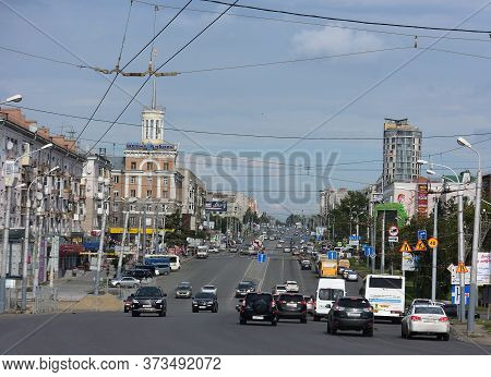 Omsk, Russia - Jule 30, 2016: Maslennikov Street In The City Of Omsk