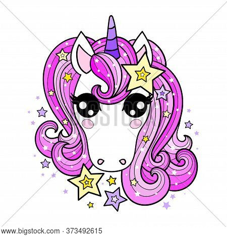 The Head Of A Unicorn With A Pink Mane. Childrens Design. Vector