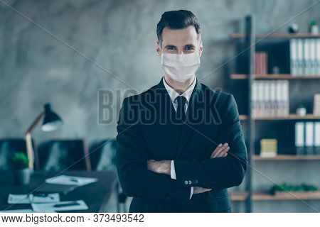 Portrait Of His He Of Nice Executive Ceo Boss Chief Guy Top Director Folded Arms Wearing Safety Mask