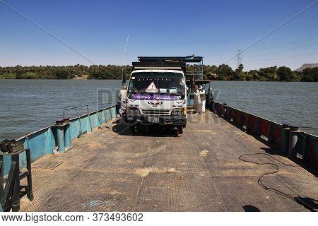 Sai Island / Sudan - 23 Feb 2017: The Ferry On Nile River Close Sai Island, Sudan