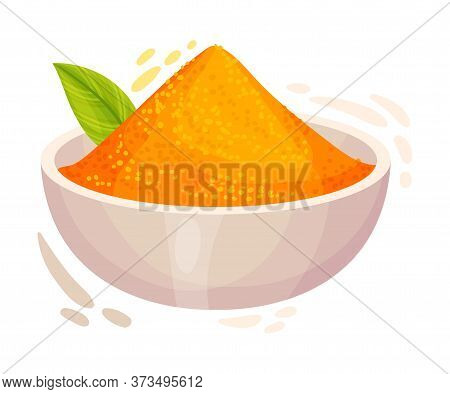 Powdered Dried Turmeric Root Poured In Bowl Vector Illustration