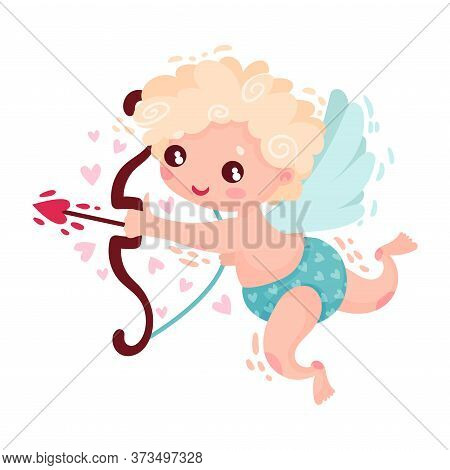 Curly-haired Cherub Character As Saint Valentine Day Symbol Vector Illustration