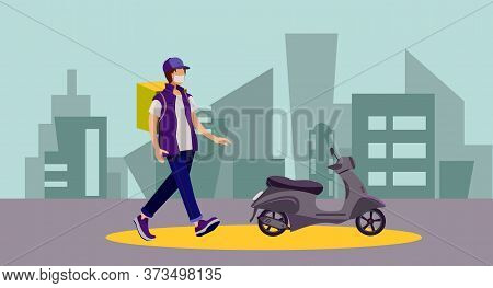 Food Delivery. Express Courier Delivery. Delivery Scooter Guy. Vector Illustration On The Theme Of D