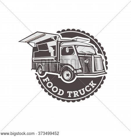 Vector Illustration Of Street Food Truck Graphic Badge. Food Old Logo Design.eps 10