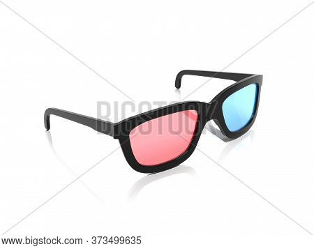 3d Glasses. Red And Blue Spectacles For Movie Theater. 3d Rendering Illustration Isolated On White B