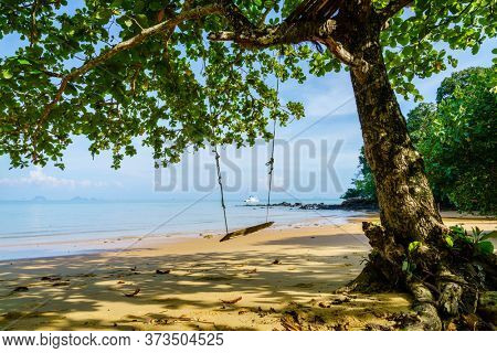 Secluded empty beach on Ko Yao Yai island in the Andaman sea in Thailand