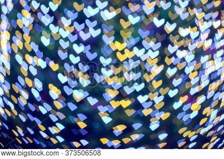 Gold Yellow Blur Heart Shape Love Valentine Day Night Light On Tree In Garden