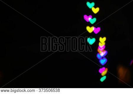 Rainbow Bokeh And Blur Line Heart Shape Love Valentine Day Night Light In The Garden