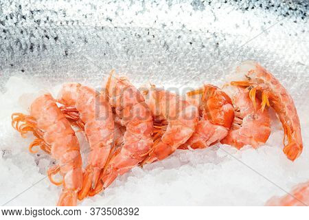 Fresh Shrimps On Ice Display At Store. Seafood Shop. Retail Display At Fish Market. Luxury Sea Delic