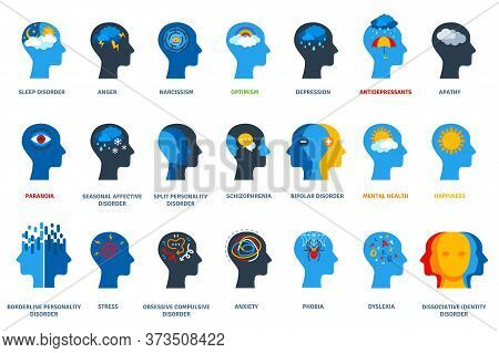 Set Of Psychological Problems Concept On White Background. Mental Disorders, Illnesses And Psychiatr
