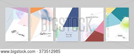 Set Of Hand-painted Colorful Watercolor Card Design. Suitable For Use As A Card; Greeting, Invitatio