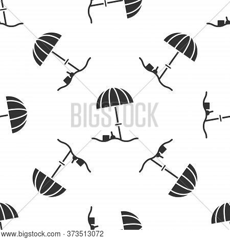 Grey Sun Protective Umbrella For Beach Icon Isolated Seamless Pattern On White Background. Large Par
