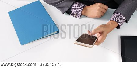 Hand Holding Smartphone Device And Touching Screen, Searching Or Social Networks