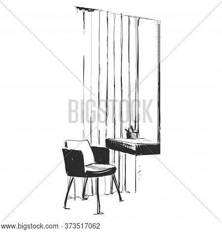 Make Up. Vanity Table And Folding Chair Illustration. Interior Sketch. Furniture