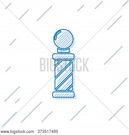 Blue Line Classic Barber Shop Pole Icon Isolated On White Background. Barbershop Pole Symbol. Vector