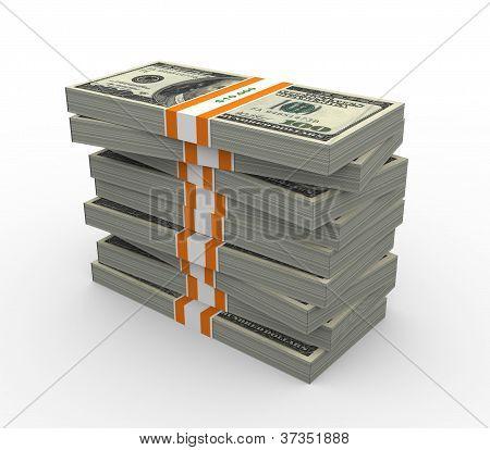 3D Stack Of Dollar Packs