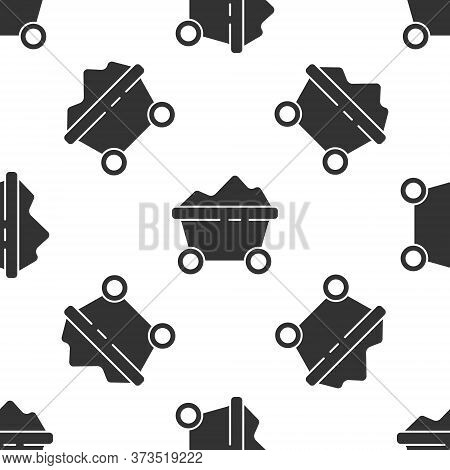 Grey Coal Mine Trolley Icon Isolated Seamless Pattern On White Background. Factory Coal Mine Trolley