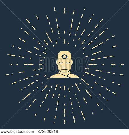 Beige Man With Third Eye Icon Isolated On Blue Background. The Concept Of Meditation, Vision Of Ener