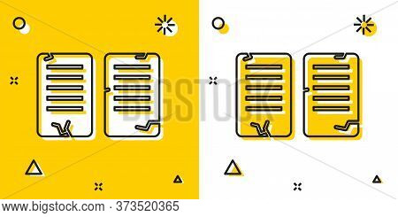 Black The Commandments Icon Isolated On Yellow And White Background. Gods Law Concept. Random Dynami