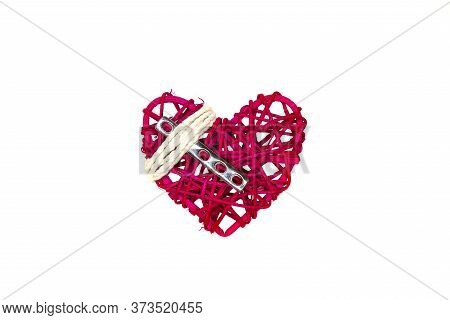 A Heart, A Steel Orthopedic Surgical Plate, And White String, Isolated On White Background.  Directl