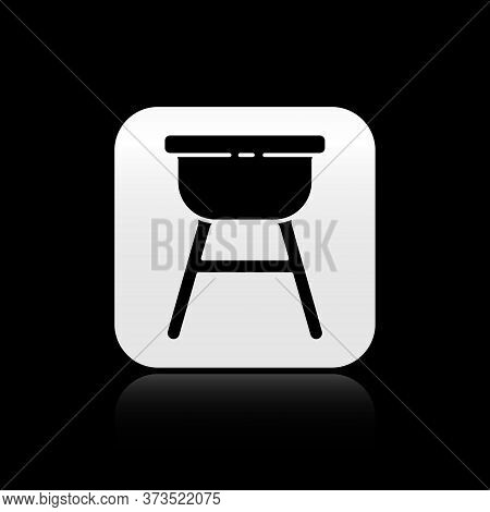 Black Barbecue Grill Icon Isolated On Black Background. Bbq Grill Party. Silver Square Button. Vecto