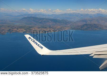 Corfu, Greece - June 6, 2016: Ryanair Boeing 737-800 Over Greece. Ryanair Is One Of Largest Operator