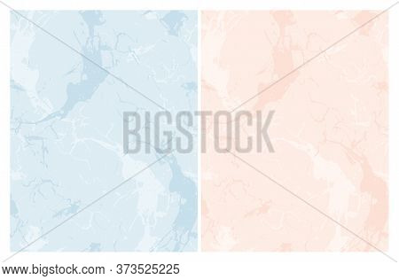 Delicate Abstract Marble Vector Patterns. Salmon Pink And Light Blue Stone Surface Background. Soft