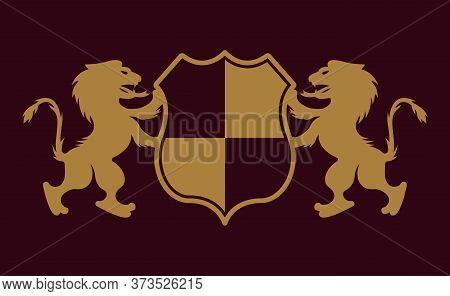 Royal Crest Two Lions Holding Shield Vector Gold Emblem, Badge, Label Or Logo On Dark Purple Backgro