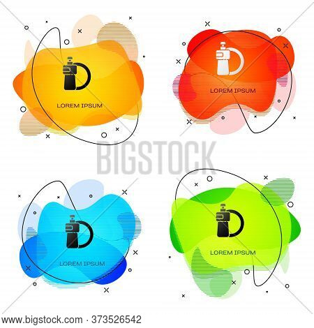 Black Dishwashing Liquid Bottle And Plate Icon Isolated On White Background. Liquid Detergent For Wa