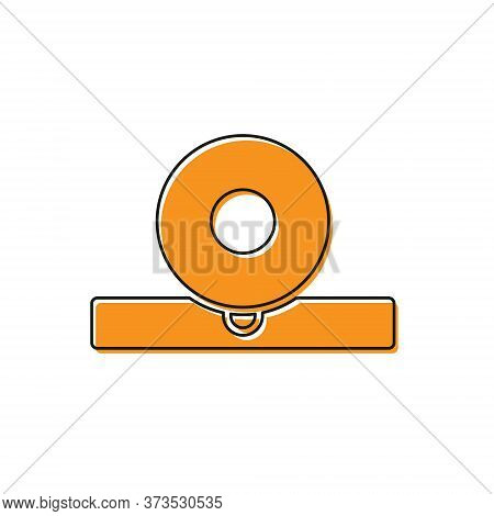 Orange Otolaryngological Head Reflector Icon Isolated On White Background. Equipment For Inspection