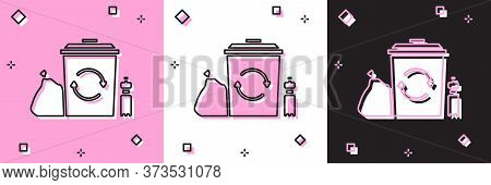 Set Recycle Bin With Recycle Symbol Icon Isolated On Pink And White, Black Background. Trash Can Ico