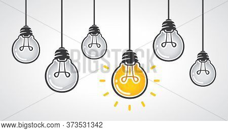 Hanging Light Bulbs With One Glowing. Leadership And Different Business Creative Idea Concept. Vecto