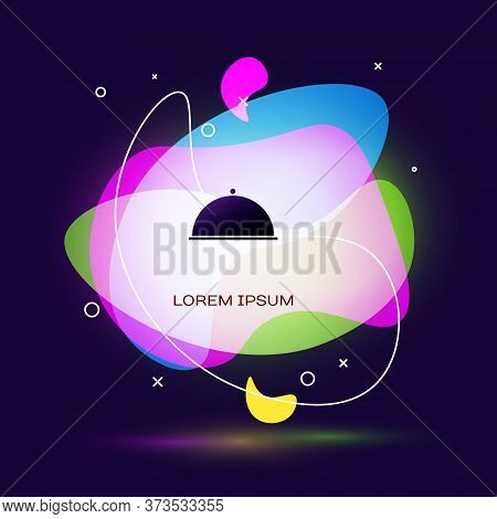 Black Covered With A Tray Of Food Icon Isolated On Blue Background. Tray And Lid. Restaurant Cloche